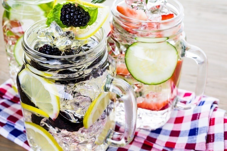 infused water with organic citruses and berries