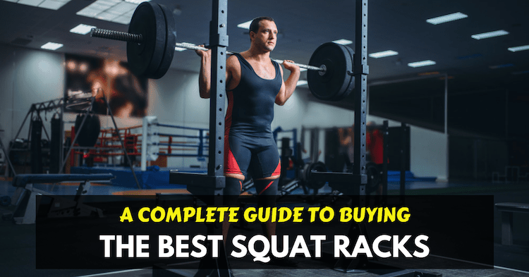 man with space saving squat rack at home