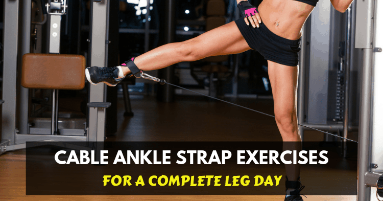 woman exercise with cable ankle strap