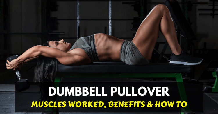 a girl doing dumbbell pullover exercise